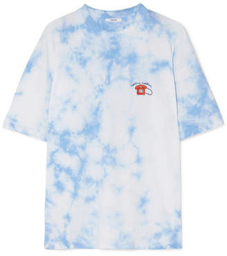Ganni Ginsbourg Verbena Embroidered Tie-dyed Cotton-jersey T-shirt - Light blue