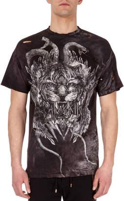 Balmain Distressed Tiger Head Logo T-Shirt