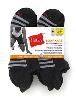 Hanes Men's Big-Tall Big and Tall 6 Pack Sport Cuts Heel Shield Sockshosiery, -, 12-14