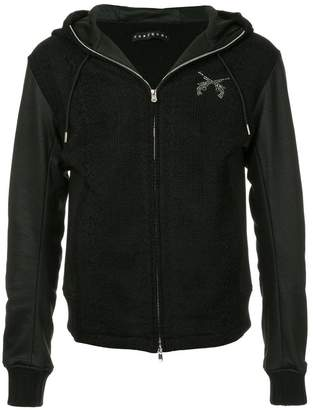 Roarguns rhinestone crest knit and faux leather hoodie