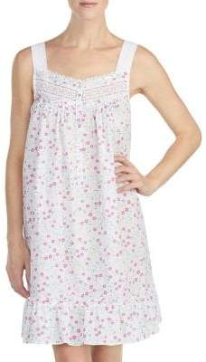 Eileen West Ruffled Lace Cotton Chemise