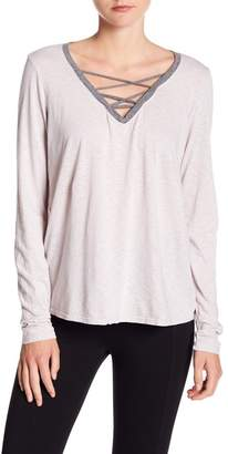 Michael Stars Strappy V-Neck Long Sleeve Tee