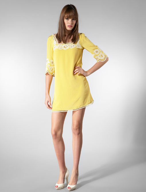 Shoshanna Spring Floral Embroidery Square Neck Dress in Yellow