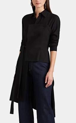 Yohji Yamamoto Regulation Women's Linen-Detailed Twill Asymmetric Blouse - Black