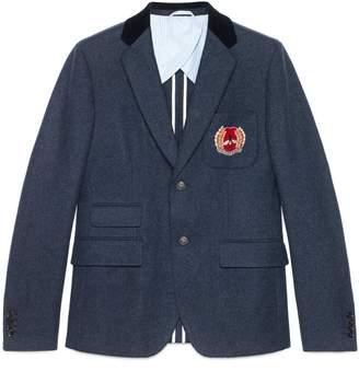 Gucci Cambridge felt jacket with crest
