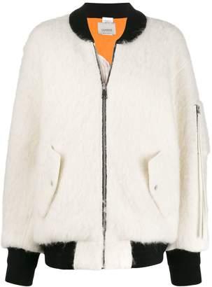 Laneus textured contrast-trimmed bomber jacket
