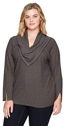 Democracy Women's Plus Size Long Sleeve Cowl Neckline Top