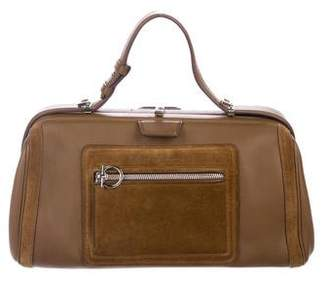 Pre Owned At Therealreal Salvatore Ferragamo Suede Trimmed Doctor Bag