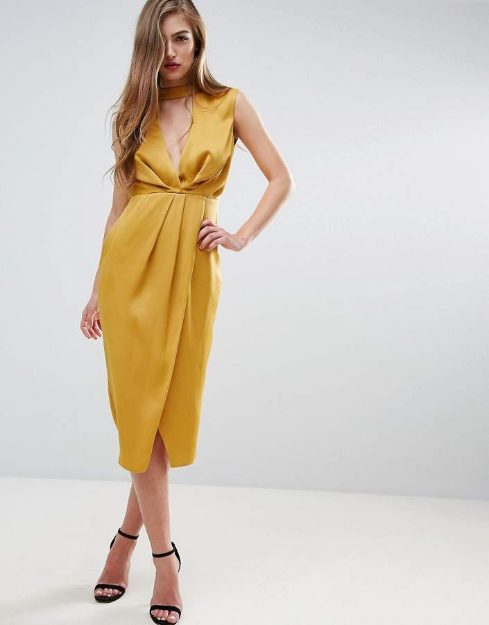 Asos ASOS Floating Neck Drape Front Midi Dress