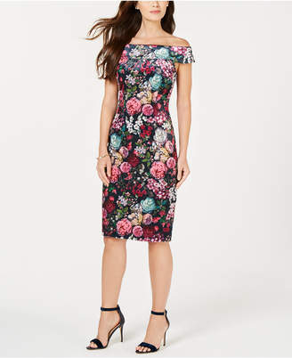 Adrianna Papell Velvet Print Midi Dress