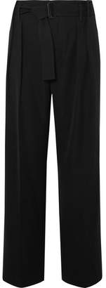 Vince Belted Crepe Wide-leg Pants - Black