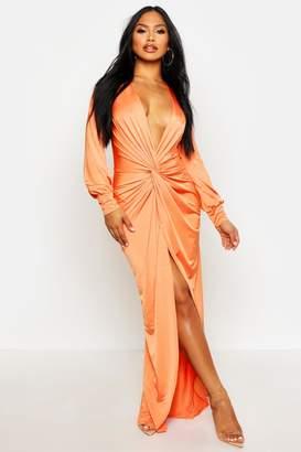 boohoo Daria Twist Front Plunge Slinky Maxi Dress