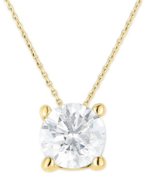 """Macy's Diamond (1-1/4 ct. t.w.) Solitaire 18"""" Pendant Necklace in 14k Gold"""