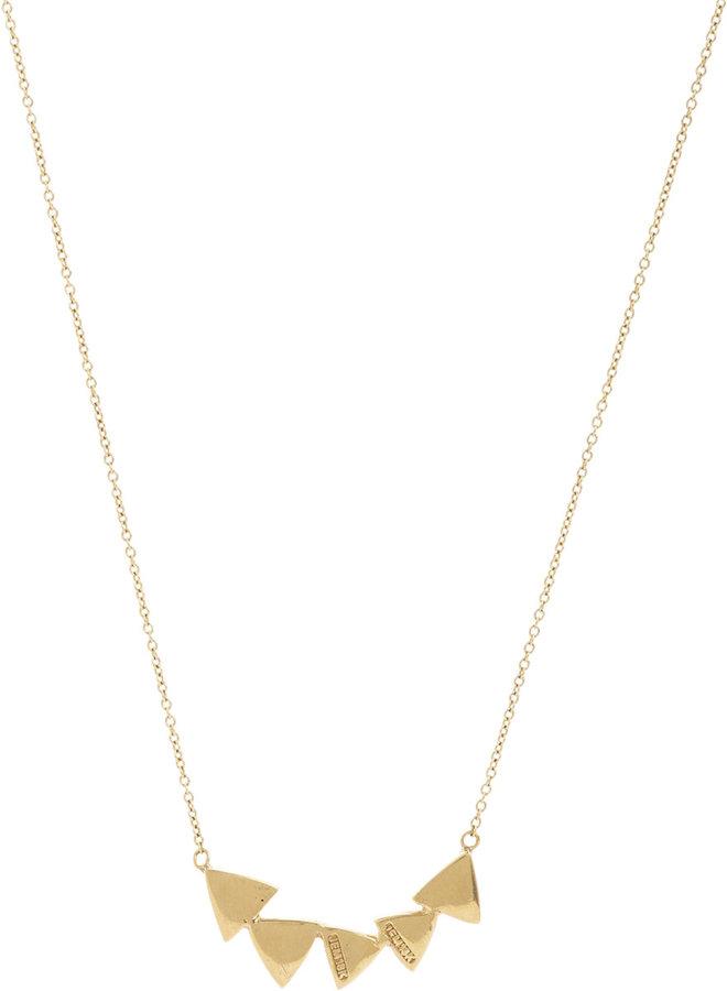 Jennifer Meyer Trillion Diamond & Gold Pendant Necklace