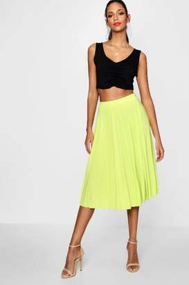 boohoo Geneva Pleated Slinky Midi Skirt