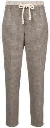 Closed drawstring plaid trousers