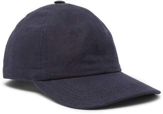 Lock & Co Hatters Rimini Linen Baseball Cap - Men - Blue