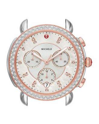 Michele 38mm Sidney Diamond Chronograph Watch Head, Rose/Silver