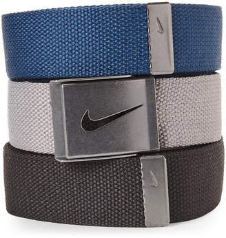 Nike 3-Pack Black, Grey & Navy Web Belts