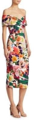 Cushnie et Ochs Surrealist Floral Off-The-Shoulder Dress