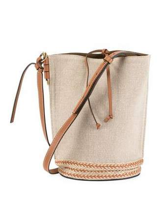 Loewe Gate Leather Jute-Trim Bucket Bag