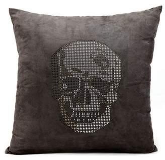 "Mina Victory Luminecence Rhinestone Skull Decorative Throw Pillow, 18"" x 18"", Dark Grey"