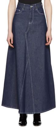 MM6 MAISON MARGIELA Indigo Long Raw Denim Skirt