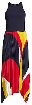 6165ee4b80e6 Polo Ralph Lauren Women's Alyah Pleated Sleeveless Handkerchief Midi Dress