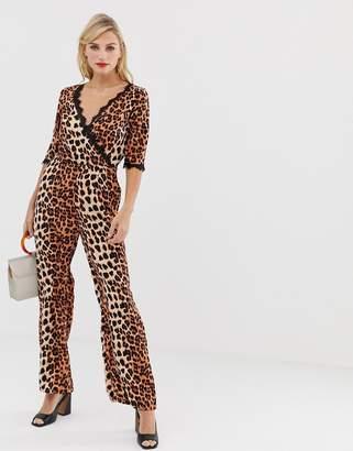 6e6202d6137 Liquorish wrap front jumpsuit in leopard print with lace trim sleeve detail