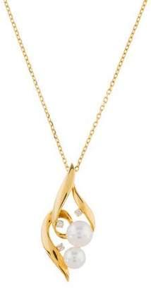 Mikimoto 18K Pearl & Diamond Pendant Necklace