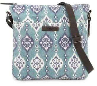 Ashton & Willow Turquoise Blue Bohemian Handbags Lanai Explorer Crossbody Cotton Adjustable Strap Distressed Appearance Pewter Hardware Canvas Ikat Crossbody