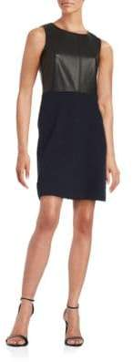 Tommy Hilfiger Faux-Leather Sleeveless Sheath Dress