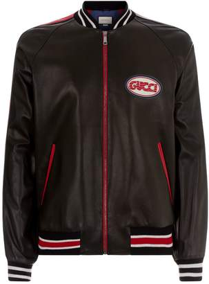 Gucci Leather Varsity Bomber Jacket