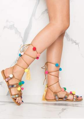 9695a095ead Missy Empire Missyempire Andromeda Brown Pom Pom Detail Lace Up Sandals