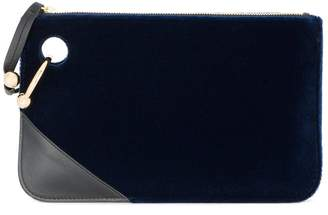 J.W.Anderson Navy Blue pierce velvet clutch bag