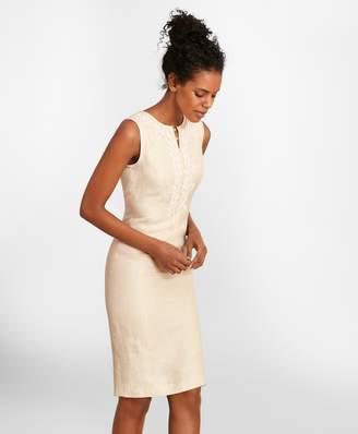 Brooks Brothers Soutache-Embroidered Linen Sheath Dress