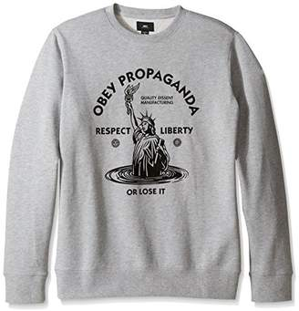 Obey Men's Lady Liberty Crew Neck Fleece Sweatshirt