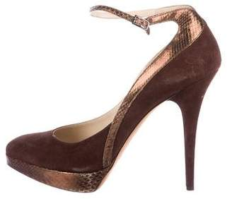 Jimmy Choo Snakeskin Ankle Strap Pumps