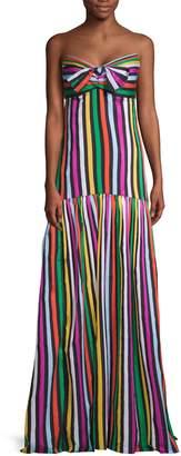 Caroline Constas Striped Strapless Fit-&-Flare Maxi Dress