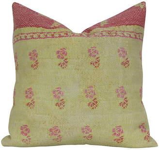 One Kings Lane Vintage Yellow Bengal Kantha Pillow