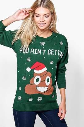 boohoo Poo Emoji Christmas Jumper