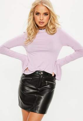 Missguided Long Sleeve Flared Cuff T Shirt