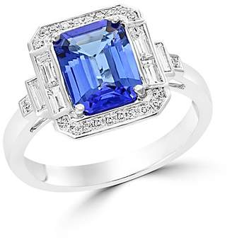 Bloomingdale's Tanzanite and Diamond Statement Ring in 14K White Gold - 100% Exclusive