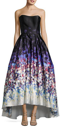 Betsy & Adam Watercolor Print Strapless Ball Gown $319 thestylecure.com