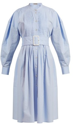 Bottega Veneta Belted Cotton Poplin Shirtdress - Womens - Light Blue