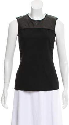 Reed Krakoff Leather-Trimmed Sleeveless Top