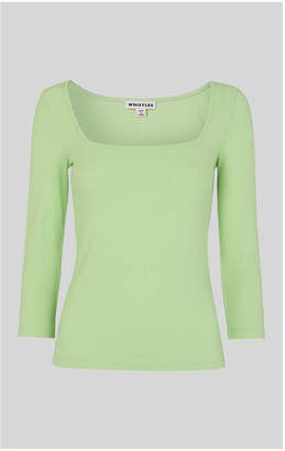 Whistles Square Neck Ribbed Top