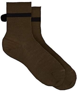 Antipast Women's Pom-Pom-Embellished Wool-Blend Mid-Calf Socks - Olive