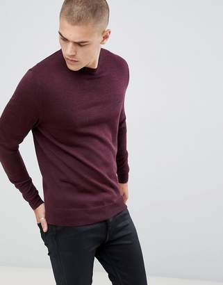 Fred Perry crew neck merino knitted sweater in burgundy marl