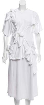 Simone Rocha Bow-Accented Short Sleeve Top